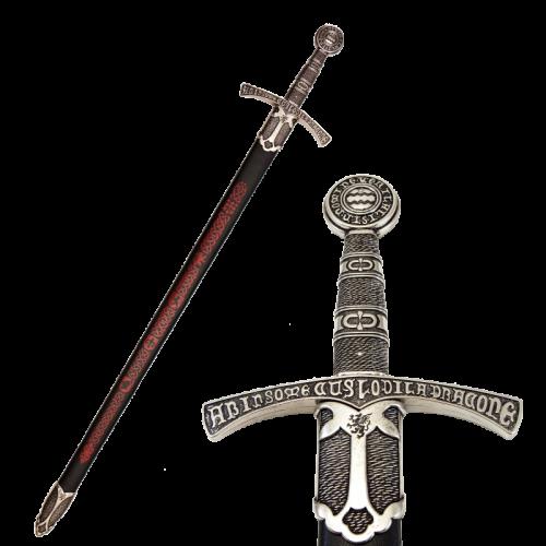 Макет меч средневековый 14 в черные ножны DE-6201