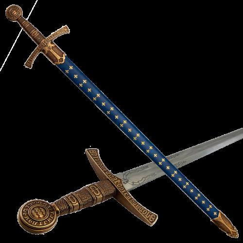 Макет меч средневековый 14 в синие ножны DE-5201