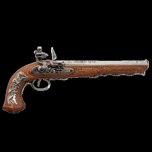 Макет дуэльного пистоля 1810 г. Франция Бутэ хром DE-1084-NQ