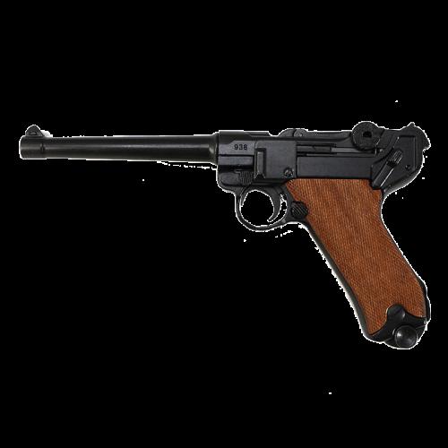 Макет пистолета Люгер Парабеллум длинный ствол рукоять дерево DE-M-1144