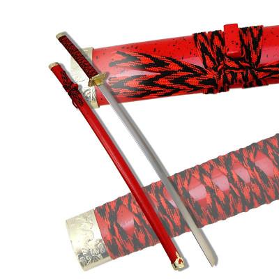 Макет самурайского меча катана ножны алый мрамор D-50020-YL-KA