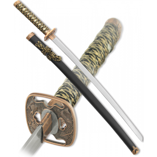 Макет самурайского меча катана ножны черные цуба бронза D-50013-BK-KA