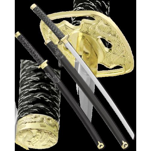 Набор самурайских мечей 2 шт. черные ножны D-50024-BK-YL-KA-WA