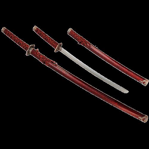 Набор самурайских мечей 2 шт. ножны бардовый мрамор D-50021-KA-WA