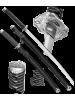 Набор самурайских мечей 2 шт. ножны черный D-50024-BK-KA-WA