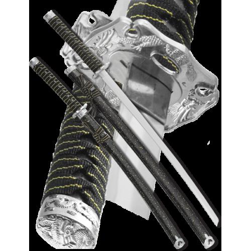 Набор самурайских мечей 2 шт. ножны черный мрамор D-50022-KA-WA