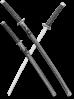 Набор самурайских мечей 2 шт. ножны серый мрамор D-50012-1-KA-WA