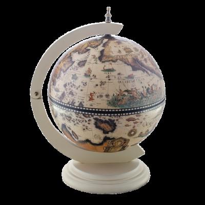 Настольный глобус бар D=33 см белая подставка