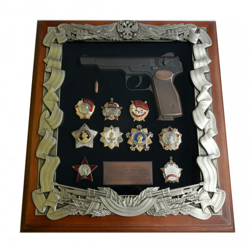 Ключница настенная с пистолетом Стечкина и наградами СССР 16-278
