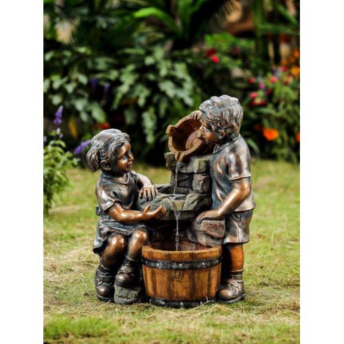 Фонтан для дачи Дети у кадки Н=61 см WXF-04689