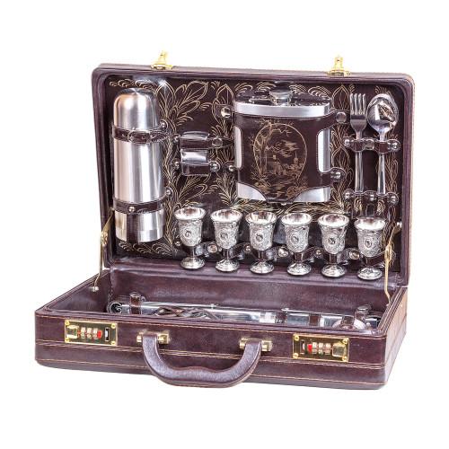 Набор для пикника Люкс коричневый 6 персон кожзам 113КИ6-КОР