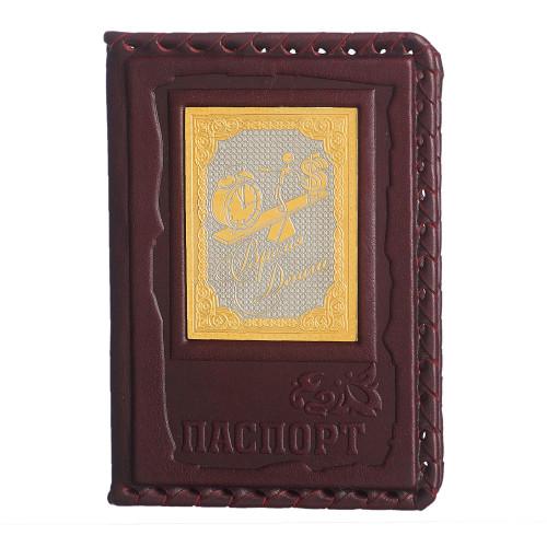 Обложка для паспорта Время - деньги позолота 009-14-02А