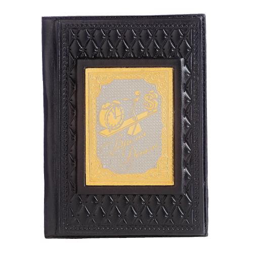 Обложка для паспорта Время - деньги черн. позолота 009-14-12А