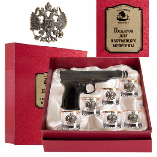 Набор для водки штоф пистолет Настоящий мужчина арт. 050203118
