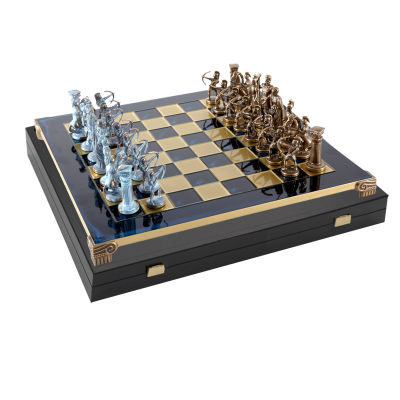 Шахматы Античные воины доска 44х44 фигуры бронза и патина MP-S-10-B-44-BLU
